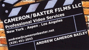 The Cameron/Baxter Films business card.